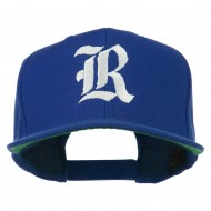 Old English R Embroidered Flat Bill Cap - Royal