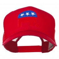 Republican Elephant USA Embroidered Mesh Back Cap - Red