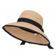 Wide Brim Raffia Straw Bucket Cloche - Natural