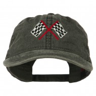 Checkered Racing Flag Embroidered Washed Cap - Black