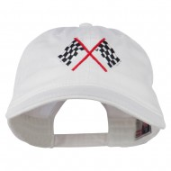 Checkered Racing Flag Embroidered Washed Cap - White