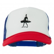 Surf Man Embroidered Foam Mesh Back Cap - Red White Royal