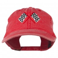 Checkered Racing Flag Embroidered Washed Cap - Red