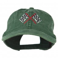 Checkered Racing Flag Embroidered Washed Cap - Dark Green