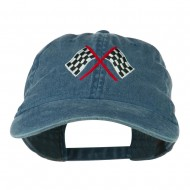 Checkered Racing Flag Embroidered Washed Cap - Navy