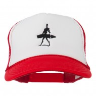 Surf Man Embroidered Foam Mesh Back Cap - Red White Red