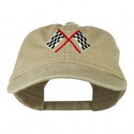 Checkered Racing Flag Embroidered Washed Cap - Khaki