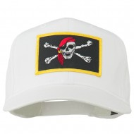 Jolly Roger Scarf Skull Patched Cap - White