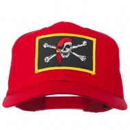 Jolly Roger Scarf Skull Patched Cap - Red