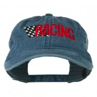 Racing Checkered Flag Embroidered Cap - Navy