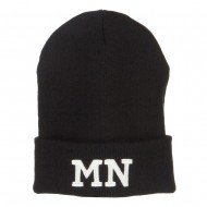 MN Minnesota State Embroidered Long Beanie - Black
