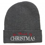 Miracle of Christmas Embroidered Long Beanie - Dk Grey