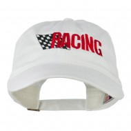 Racing Checkered Flag Embroidered Cap - White