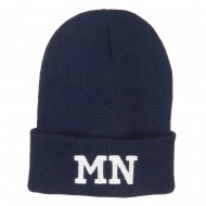 MN Minnesota State Embroidered Long Beanie - Navy