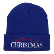 Miracle of Christmas Embroidered Long Beanie - Royal