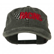 Racing Checkered Flag Embroidered Cap - Black