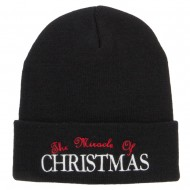 Miracle of Christmas Embroidered Long Beanie - Black