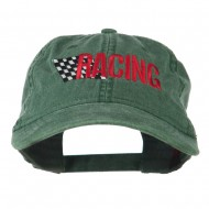 Racing Checkered Flag Embroidered Cap - Dark Green