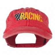 Racing Checkered Flag Embroidered Cap - Red
