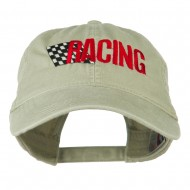 Racing Checkered Flag Embroidered Cap - Stone Grey