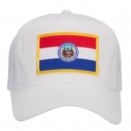 Missouri State Flag Patched Mesh Cap - White