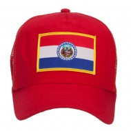 Missouri State Flag Patched Mesh Cap - Red
