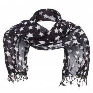 Cotton Scarf with Stars - Black