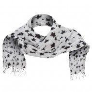 Cotton Scarf with Stars - White