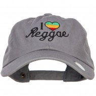 I Love Reggae Embroidered Unstructured Cap - Grey