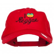 I Love Reggae Embroidered Unstructured Cap - Red