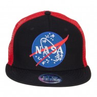 NASA Lunar Patched Flat Bill Mesh Cap - Black Red