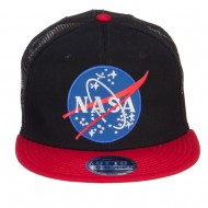 NASA Lunar Patched Flat Bill Mesh Cap - Red Black