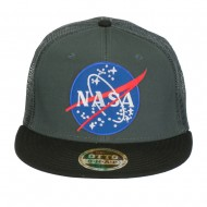 NASA Lunar Patched Flat Bill Mesh Cap - Black Charcoal