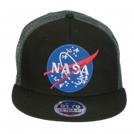 NASA Lunar Patched Flat Bill Mesh Cap - Charcoal Grey