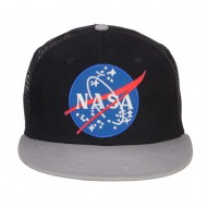 NASA Lunar Patched Flat Bill Mesh Cap - Grey Black