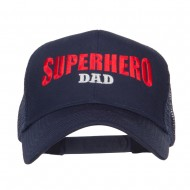 Superhero Dad Letters Embroidered Trucker Cap - Navy