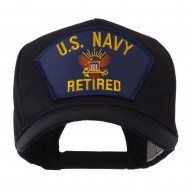 Retired Military Large Embroidered Patch Cap - Blue Navy