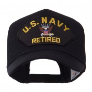 Retired Military Large Embroidered Patch Cap - Black Navy
