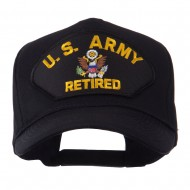 Retired Military Large Embroidered Patch Cap - Black Army