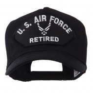 Retired Military Large Embroidered Patch Cap - Black Air