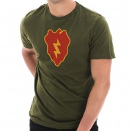 Army 25th Infantry Division Insignia Graphic Short Sleeve Jersey T-Shirt - Army Green