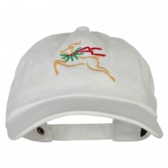 Reindeer Outline Embroidered Unstructured Washed Cap - White