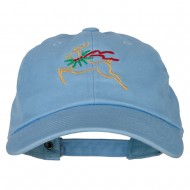 Reindeer Outline Embroidered Unstructured Washed Cap - Blue