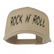 Rock and Roll Embroidered Mesh Cap - Khaki
