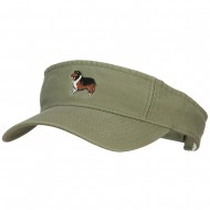 Rough Collie Embroidered Pro Style Cotton Washed Visor - Olive