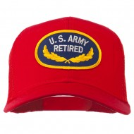 US Army Retired Emblem Patched Mesh Cap - Red