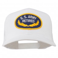 US Army Retired Emblem Patched Mesh Cap - White