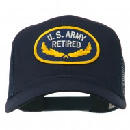 US Army Retired Emblem Patched Mesh Cap - Navy