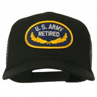 US Army Retired Emblem Patched Mesh Cap - Black