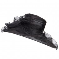 2 Roses Accent Wide Organza Hat - Black